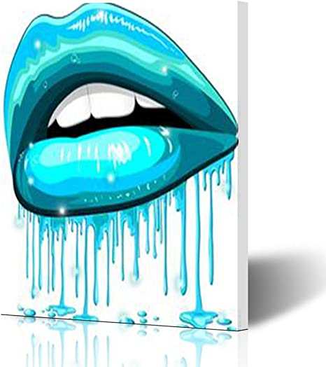 Amazon Com Canvas Wall Art Print Painting Lips Aqua Color Water Lipstick Dripping Wooden Frame Stretched Artwork Printing 12 X 16 For Home Bedroom Living Room Office Decoration Posters Prints