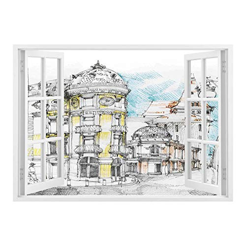 (SCOCICI Wall Mural, Window Frame Mural/Medieval Decor,Pale Sketch Design of Middle Age Renaissance Building in European Old Town Cityscape,Multi/Wall Sticker Mural)