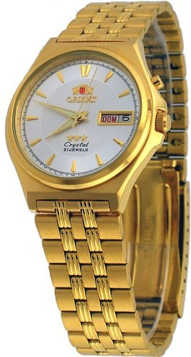 Orient #BEM5M00VW Men's Gold Tone Tri Star Silver Dial Automatic Watch