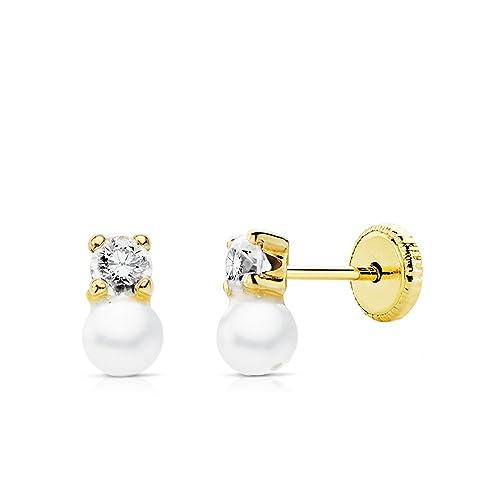 fdc342594c51 Pendientes bebé niña perlas y garras 7 x 3 mm oro amarillo 18 ktes cierre  rosca  Amazon.es  Joyería