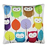 Lovable Cartoon Pillowcase, DecorativeCushion Cover, Pillowslip Printed with Wise and Cute OWL on Featured High Quality Cotton and Linen.(Size:45x45cm/17.7x17.7 Inches)