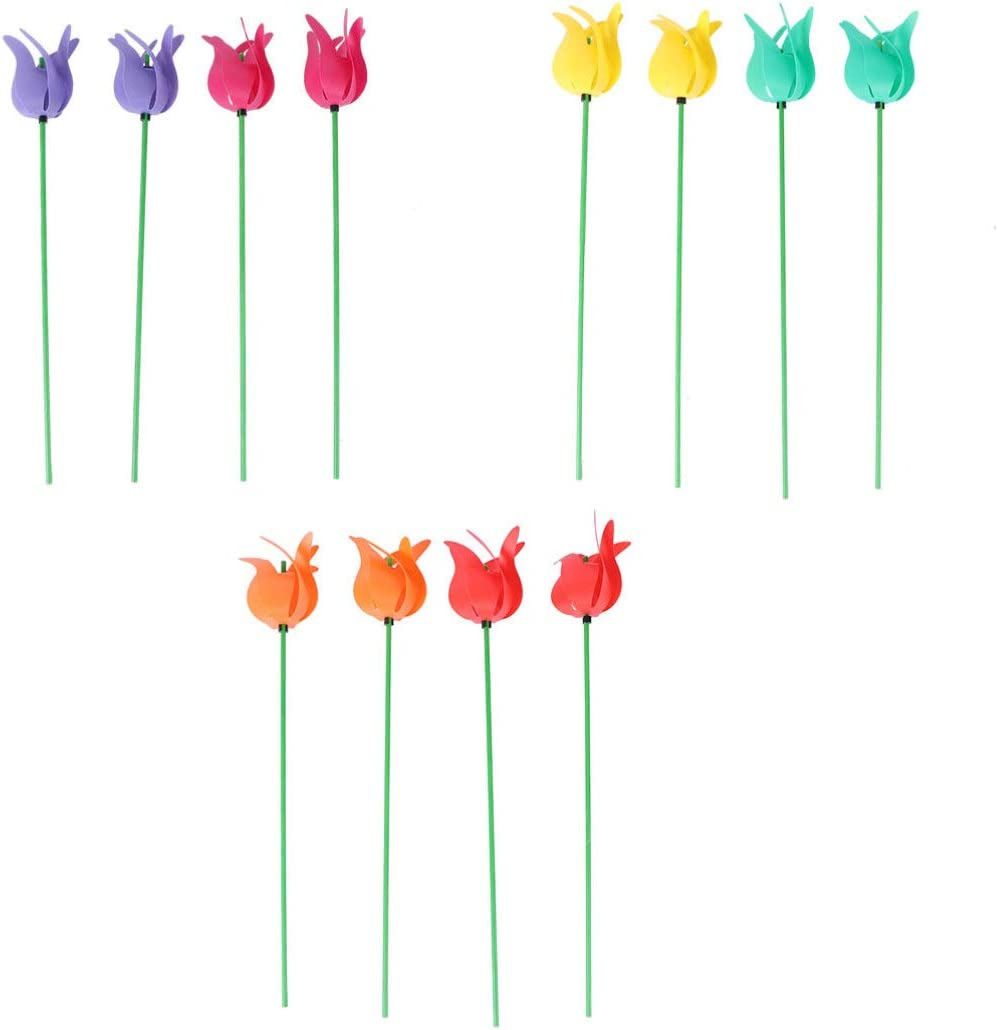 YARDWE 12pcs Tulip Flower Windmill 3D Garden Wind Spinner Stake Outdoor Party Pinwheel Toy for Yard Decor Patio Accessories (Random Color)
