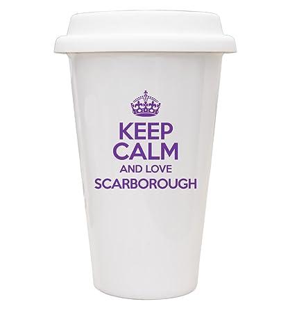 Duke Gifts PURPLE Keep Calm and Love Scarborough ECO Travel Mug TXT