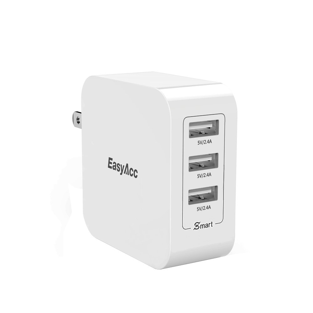 USB Wall Charger EasyAcc 3-Port 36W 7.2A Travel Charger with Foldable Plug for iPhone 8 X 7 6s 6 Plus, iPad, Galaxy S8/S8+ S7 S6 and More