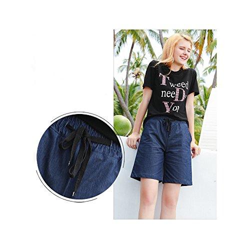 Donna knee Blue Dark Length Pantaloncini Sobrisah Sxqa807a