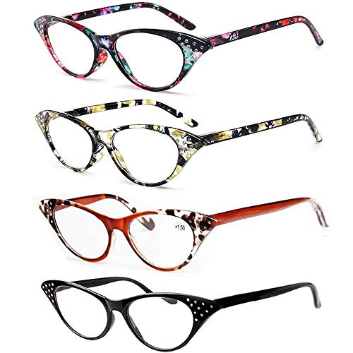 REAVEE Cat Eye Reading Glasses for Women 4 Pack Ladies Fashion Readers with Rhinestones