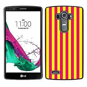 EJOY---Cubierta de la caja de protección para la piel dura ** LG G4 ** --Líneas verticales púrpura brillante amarillo