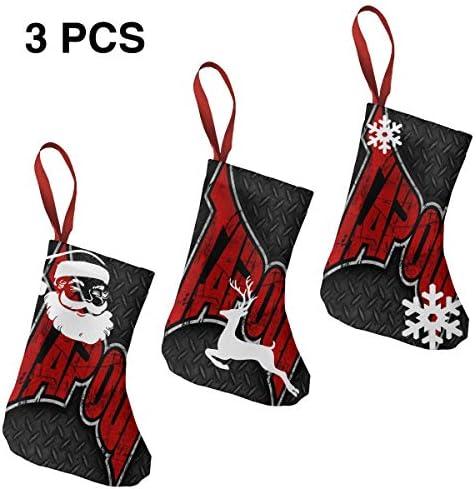 クリスマスの日の靴下 (ソックス3個)クリスマスデコレーションソックス けんかMMA クリスマス、ハロウィン 家庭用、ショッピングモール用、お祝いの雰囲気を加える 人気を高める、販売、プロモーション、年次式