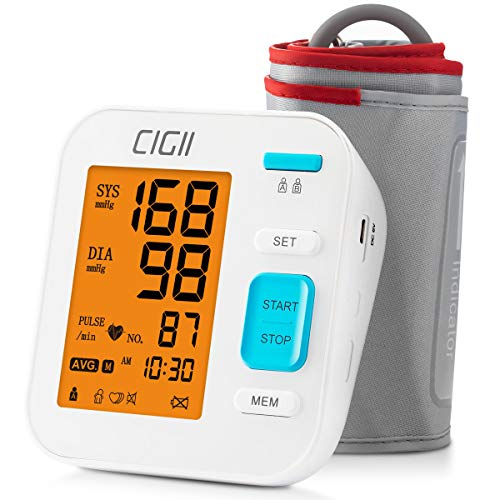 Blood Pressure Monitor by CIGII,Accurate Automatic Upper Arm Bp Machine & Pulse Rate Monitoring Meter with Cuff 22-40cm, 2×120 Sets Memory, 3 Colors LCD Backlight-FDA Approved ¡