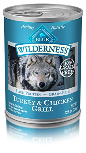 Blue Buffalo Wilderness High Protein Grain Free, Natural Adult Wet Dog Food, Turkey & Chicken Grill, 12.5 Ounce Can (Pack Of 12)