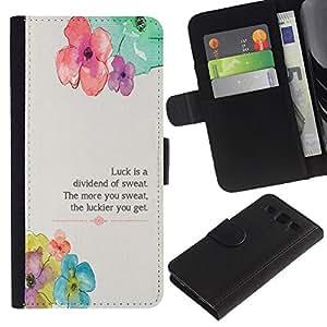 """SAMSUNG Galaxy S3 III / i9300 / i747 , la tarjeta de Crédito Slots PU Funda de cuero Monedero caso cubierta de piel ("""" Floral Flower Spring Poem Message"""")"""
