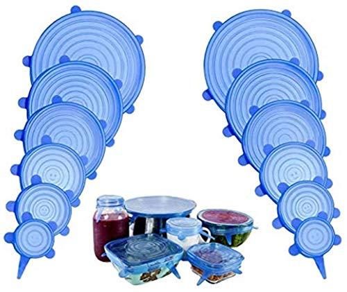 Rekbare siliconen deksel, siliconen stretch deksel, vershouddeksel, duurzaam en herbruikbaar, verpakking van 12 stuks in…