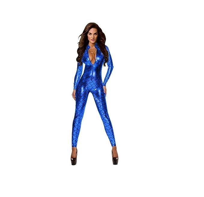 c690dc16975a GGTBOUTIQUE Ladies Metallic Fish Scales Pattern Jumpsuit Catsuit Playsuit  Bodysuit Club Wear Fancy Dress Costume  Amazon.co.uk  Clothing