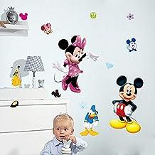 Fange DIY Removable Disney Mickey and Minnie Mouse Art Mural Vinyl Waterproof Wall Stickers Kids Room Decor Nursery Decal Sticker Wallpaper 35.4''x23.6''