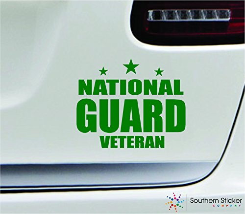 - National guard veteran 5.4x4.4 green soldier military war veteran america united states color sticker state decal vinyl - Made and Shipped in USA