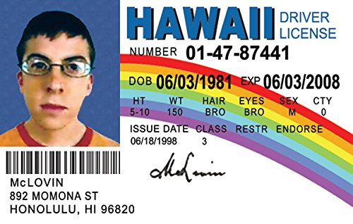 Image result for mclovin id high res