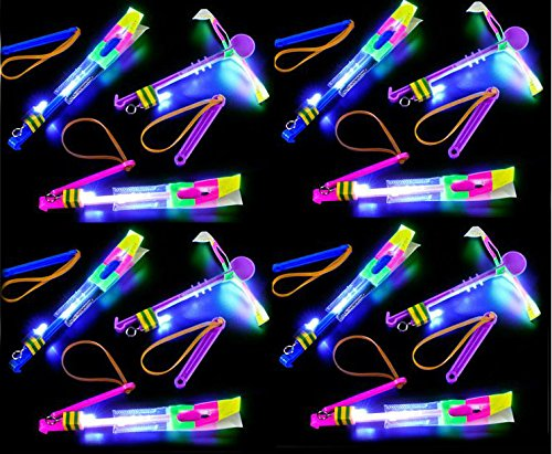 Play Kreative 12 Led Light Up Arrow Rocket Helicopter Flying Toy Slingshot Style Party Fun Prizes - Flashing Bright Lights -