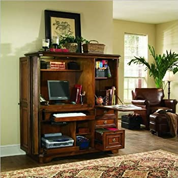 Hooker Furniture Brookhaven Computer Cabinet In Clear Cherry Finish