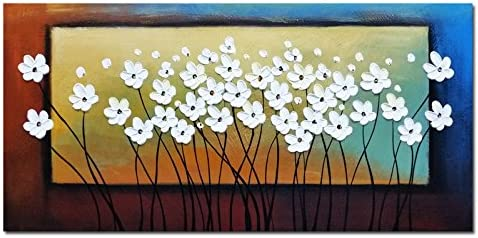 Wieco Art White Flowers Oil Paintings on Canvas Wall Art for Living Room Bedroom Home Decorations Large Modern Stretched and Framed 100 Hand Painted Contemporary Pretty Abstract Floral Artwork L