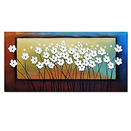 Amazon wieco art white flowers oil paintings on canvas wall art wieco art white flowers oil paintings on canvas wall art for living room bedroom home decorations mightylinksfo