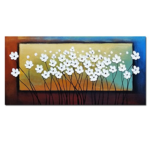 Wieco Art White Flowers Oil Paintings on Canvas Wall Art for Living Room Bedroom Home Decorations Large Modern Stretched and Framed 100% Hand Painted Contemporary Pretty Abstract Floral Artwork L (Best Selling Oil Paintings)