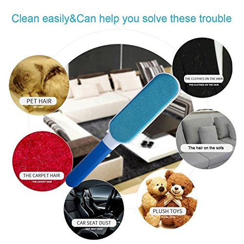 VJ Pet Hair Remover Brush,Clean Dog &Cats Fur Remover,Plastic Double-sided Clean Lint Brush for Pets/Family/Sofa/Clothes,Furniture Travel Hair Brush by VJ (Image #5)