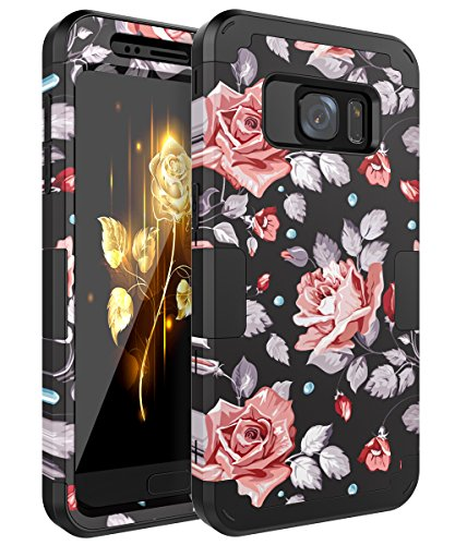 Galaxy S7 Case,OBBCase Samsung Galaxy S7 Case,Three Layer Heavy Duty Hybrid Sturdy Armor High Impact Resistant Protective Cover Case For Samsung Galaxy S7 2016 Release Rose Flower/Black Samsung Cell Phone Covers