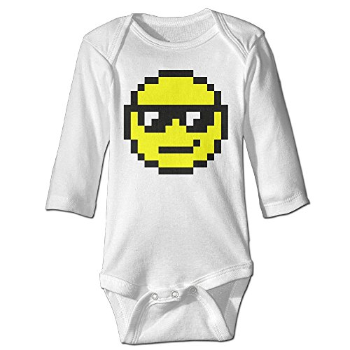 Fashion Baby Boys & Girls Pixel Art Smiley Face Long-sleeve Romper Jumpsuit