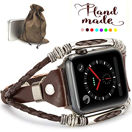 (Marval.P Compatiable for Apple Watch 4 Bands(40mm&44mm), Handmade Leather DIY Band for Series 123 38mm/42mm, Replacement Bracelet Strap, Wristbands with Adjustable Size, Fashion Wrist Band Straps)