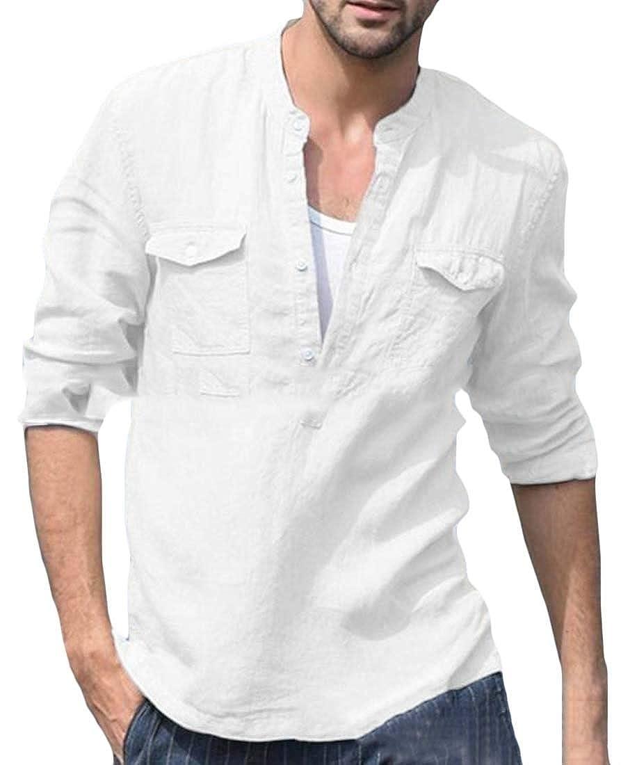 Joe Wenko Mens V Neck Long Sleeve Casual Linen Pocket Henley Top Tee T-Shirts