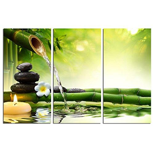 Art Garden Canvas (Sea Charm - Zen Wall Art,Spa Stones in Garden with Flow Water,Modern Home Decor Canvas Print,Framed Ready to Hang,Each piece 12