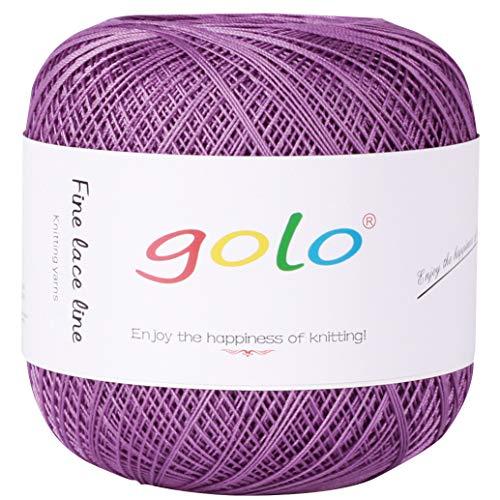 Crochet Thread Yarns for Begingers Size10-100% Contton Yarn for Knitting Crochet DIY Hardanger Cross Sitch Crochet Thread Balls Rainbow Turquoise 39 Colors Avilable (Violet)