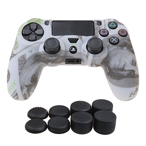 YoRHa Water Transfer Printing Camouflage Silicone Cover Skin Case for Sony PS4/slim/Pro controller x 1(US dollar) With Pro thumb grips x 8