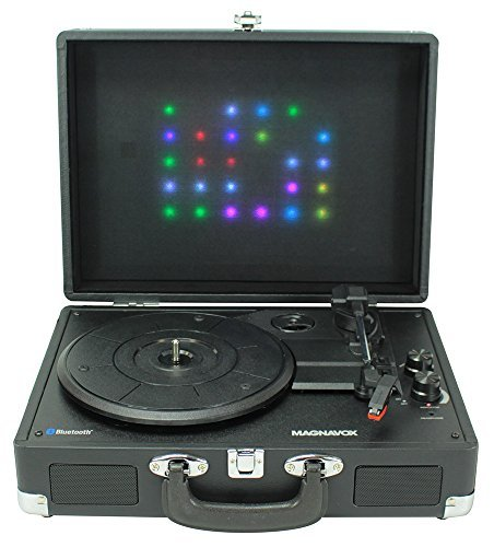 Magnavox 3-Speed Bluetooth Suitcase Turntable 3-in-1 System With Decorative Lights Model MD699