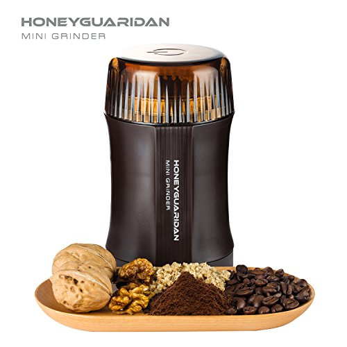 HoneyGuaridan CG-8120 Electric Coffee Grinder for Coffee Bean, Seed, Nut, Spice,Herb, Grain and others - Super Powerful 200 Watt 20 Seconds to Grind per time, Double Stainless Steel Blades