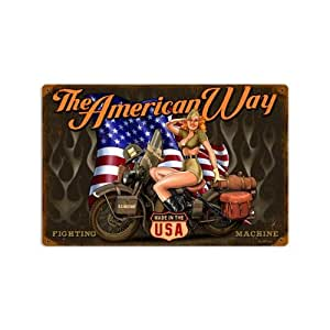 Amazon Com American Way Vintage Metal Sign Army Pin Up