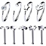 BodyJ4You 9PCS Set Nose Ring 20G Hoop Surgical Steel Nostril Studs Body Jewelry Piercing Pack