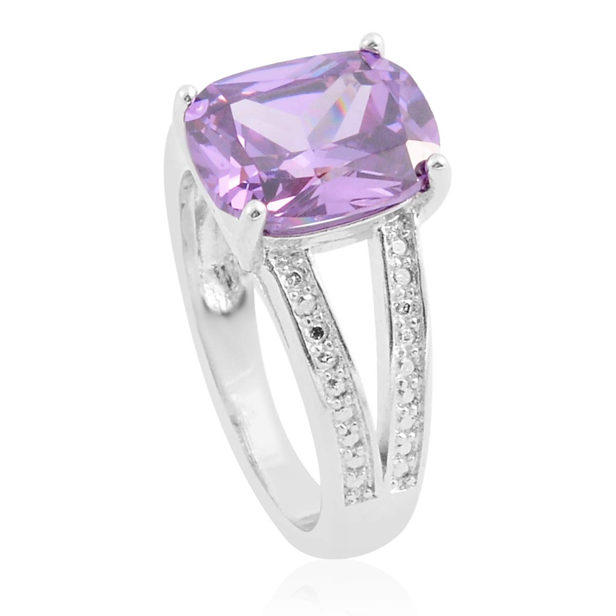 Shop LC Delivering Joy White Gold Plated Amethyst Cubic Zirconia Statement Ring for Women Cttw 1 Jewelry Gift