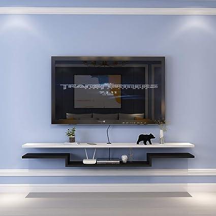 TV Rack Estante Flotante Estante de Pared Estante para Televisor Montado en la Pared Top para Televisor, Blanco Negro, 120 cm: Amazon.es: Deportes y aire libre