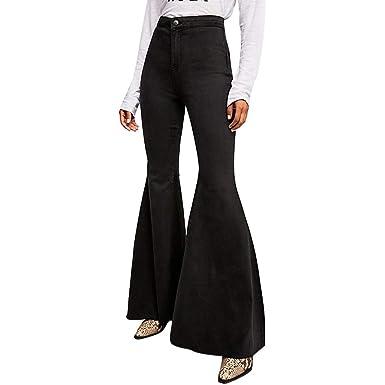 ba6dccd0a9505d Kehen Women Flared Jeans High Waist Flare Bell Bottom Denim Pants Black  Small