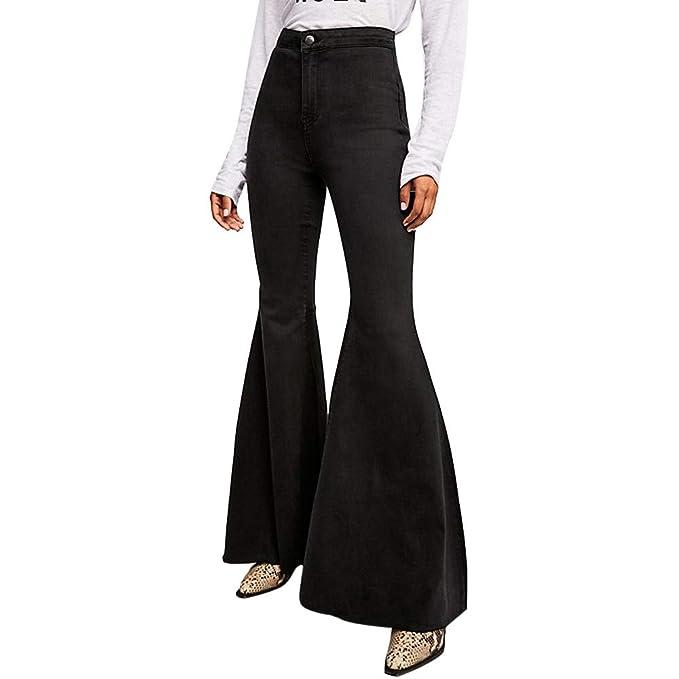 cb3c034782 Pants Vaqueros Deportes Yesmile ❤ para Mujeres de Moda Pantalones Vaqueros  de Fondo de Campana de Mezclilla Cintura Media Estirar Delgado Pantalones  de ...