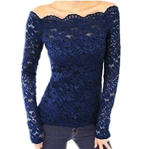 Donna Pierce 2017 Spring Sexy Elegant Women Blusas Off Shoulder Slash Neck Lace Solid Shirts Long Sleeve Slim Casual Tops Blouse Plus Size Blue 4XL (Plus Size 90s Fancy Dress)