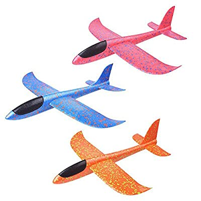 YAKEFJ Airplane Manual Throwing Foam Airplane Aircraft Glider Outdoor Sports Toy Model Foam Airplane Outdoor Sports Toy for Kids Pack of 3(13.8inch): Toys & Games