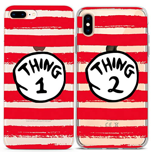 Lex Altern iPhone Cute Case Xs Max Xr X 10 8 Plus 7 6s 6 SE 5s 5 Two Things Apple Soft The Cat in The Hat Clear Silicone Striped Phone Gift Twins Funny Cover TPU Print Teen Kids Flexible Matching BFF (2 Best Friends Cartoon)