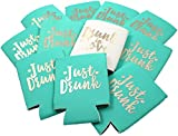 11pc Set Drunk in Love & Just Drunk Can Coolers for Bachelorette Parties, Bridal Showers & Weddings - 4mm Thick Bottle Cooler Sleeves aka Can Coolies aka Beverage Insulators (11pc Set, Aqua)