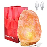 LEVOIT Large Salt Lamp, Pink Crystal Hand Carved Himalayan Salt Lamps with Premium Rubberwood Base, Dimmable Touch Switch, Luxury Gift Box(UL-Listed, 2 Extra Original Bulbs Included)
