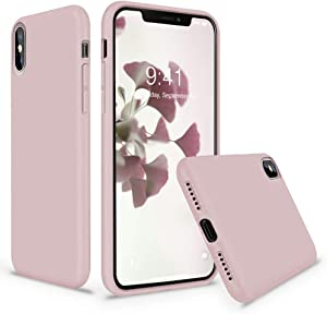 Vooii iPhone Xs Case, iPhone X Case, Soft Liquid Silicone Slim Rubber Full Body Protective iPhone Xs/X Case Cover (with Soft Microfiber Lining) Design for iPhone X iPhone Xs - Sand Pink
