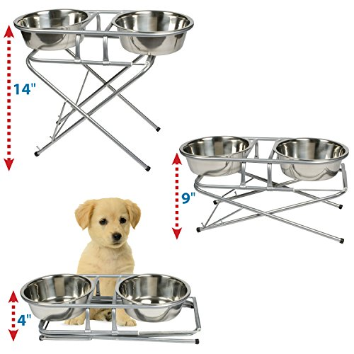 Pet Supplies : Jack And Dixie Stainless Steel Adjustable Elevated Dog Bowl  And Stand Set : Amazon.com