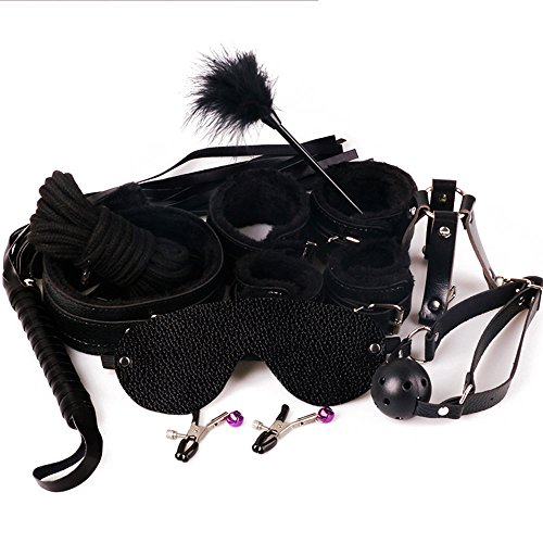 Lilys Gift Sexy Adult Couple Sex Toy Bondage Restraint Handcuffs Collar Whip 10pcs (Black)