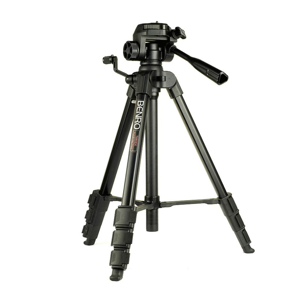 YILF コンパクト軽量三脚 一眼レフカメラスタンド ポータブル写真 アウトドア 旅行 4セクションフットチューブ ブラック   B07M7TVB8B